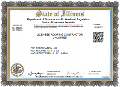 Pro Restoration LLC state of Illinois roofing contractor license